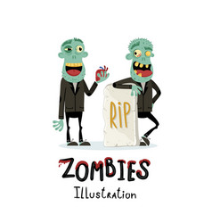 couple zombie man near rip gravestone vector image vector image