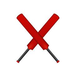 crossed cricket bats in vintage design vector image vector image