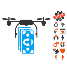 drone banknotes payment icon with valentine bonus vector image