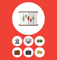 Flat icon gain set of diagram cash bank and vector