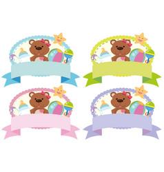 Four banner design with teddybear and toys vector