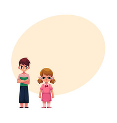 Frowned kids boy arms crossed on breast girl vector