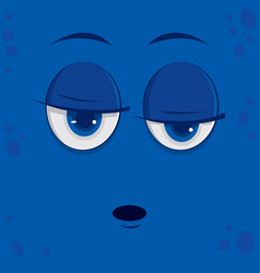 Funny cartoon monster face vector