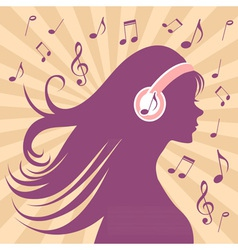Girl silhouette with headphones vector image vector image