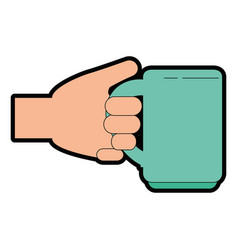 hand with delicious coffee cup icon vector image