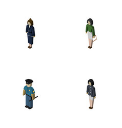isometric person set of pedagogue businesswoman vector image vector image