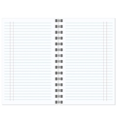 Open notebook with white page vector image vector image