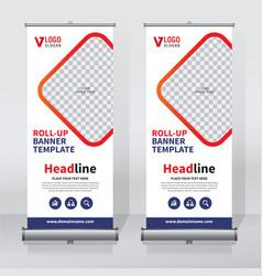 Roll up banner design print template vector