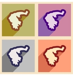 Set of flat web icons with long shadow map greece vector