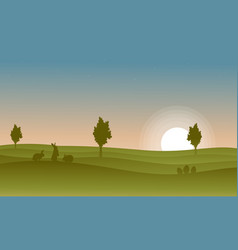 Silhouette of rabbit at the sunset vector