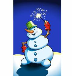 snowman holding sparkler vector image vector image