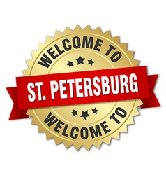 St petersburg 3d gold badge with red ribbon vector