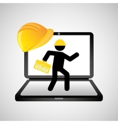 Under construction web page worker tool box vector