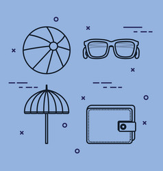 Vacation travel set equipment ready for adventure vector
