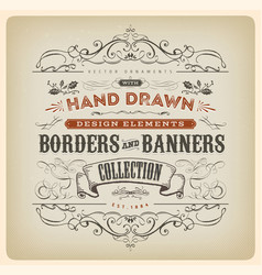 vintage calligraphy banner with ornaments vector image vector image