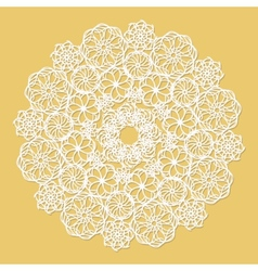White lace serviette on yellow background vector
