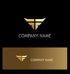 wing abstract gold company logo vector image