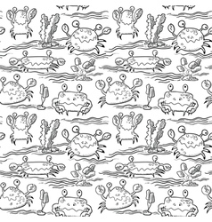 Summer seamless pattern with crabs vector