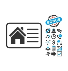 House info card flat icon with bonus vector