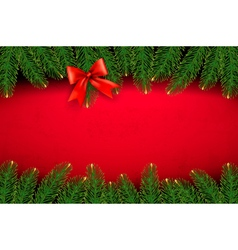Christmas background with gift bow and fir vector image