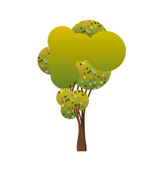 Colorful silhouette little leafy tree with pixels vector