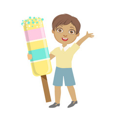 Happy little boy holding a huge ice cream a vector