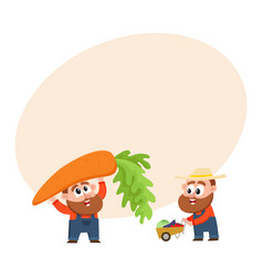 funny farmers harvesting vegetables holding giant vector image