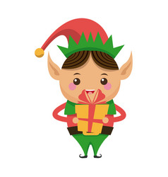 happy merry christmas elf holding gift character vector image
