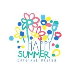 Happy summer logo template original design vector