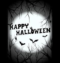 Happy halloween graveyard silhouette greeting vector