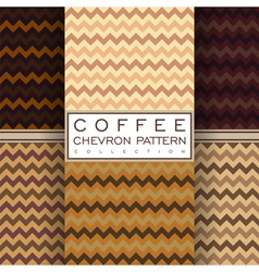 Coffee chevron seamless pattern collection vector
