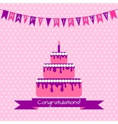 Birthday card with cake vector