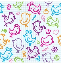 Hand drawn birds pattern vector