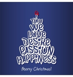 Merry christmas happiness greeting card blue vector