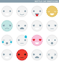 Bottle cap emoticons vector