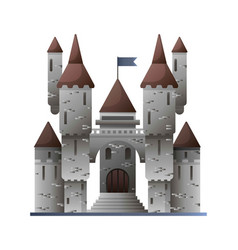 ancient stone castle in fairy-tale design isolated vector image