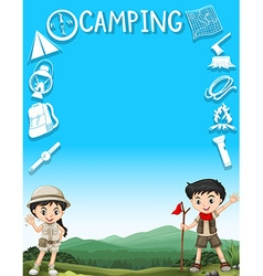 Border design with kids and camping gears vector