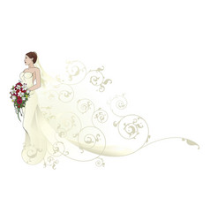 Bride beautiful wedding dress pattern background vector