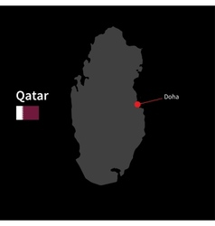 Detailed map of qatar and capital city doha with vector
