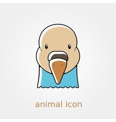 Dove flat icon Animal head symbol vector image