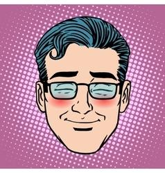 Emoji embarrassment shame man face icon symbol vector