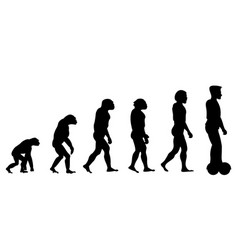 Evolution theory from monkey to man on scooter vector