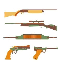 Firearms set design flat vector