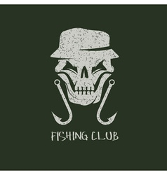 fishing club grunge emblem with skull in panama vector image vector image