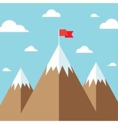 Flag on mountain success goal achievement vector