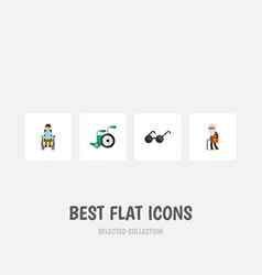 Flat icon cripple set of disabled person vector