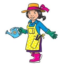 Funny woman gardener Profession series vector image vector image