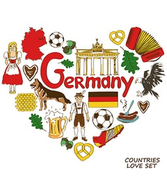 German symbols in heart shape concept vector