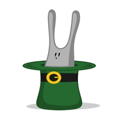 green hat with rabbit vector image vector image