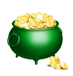 green pot with gold coins vector image vector image